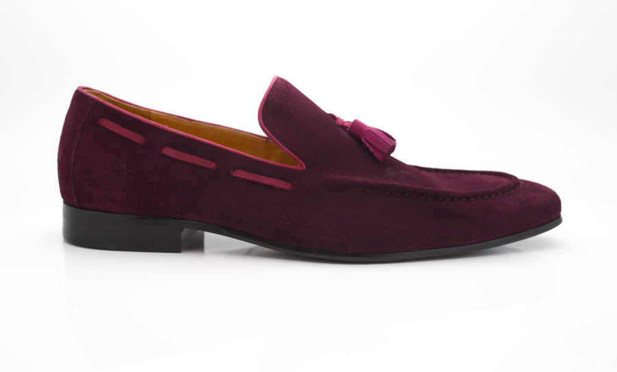 Carrucci by Maurice Suede Tasseled Loafer Burgundy