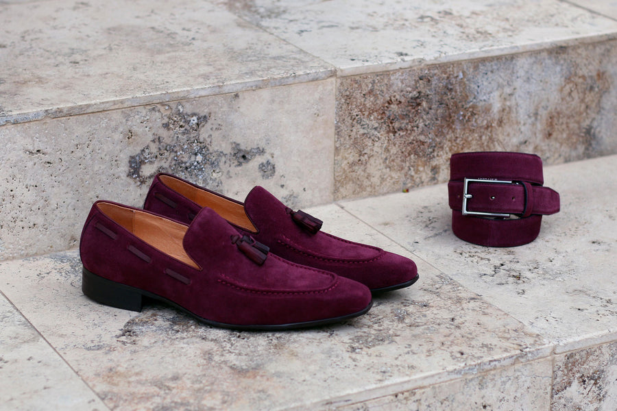 Suede Belt Burgundy