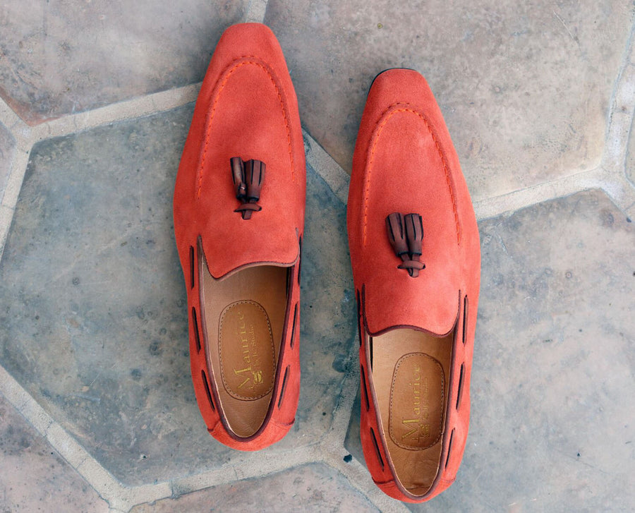 Carrucci by Maurice Suede Tasseled Loafer Coral