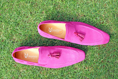Carrucci by Maurice Suede Tasseled Loafer Fuchsia