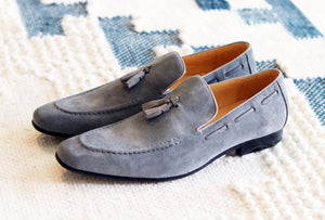 Carrucci by Maurice Suede Tasseled Loafer Grey