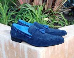 Carrucci by Maurice Suede Tasseled Loafer Navy