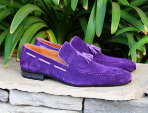 Carrucci by Maurice Suede Tasseled Loafer Purple