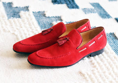 Carrucci by Maurice Suede Tasseled Loafer Red