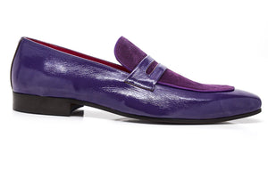 Patent Leather & Suede Slip-On Loafer Purple