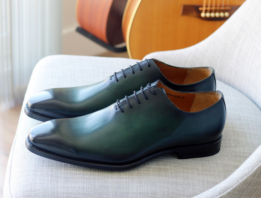 Burnished Calfskin Lace-Up Oxford Green