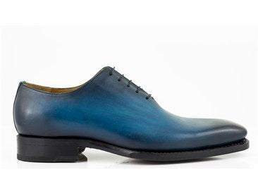 Burnished Calfskin Lace-Up Oxford Sapphire