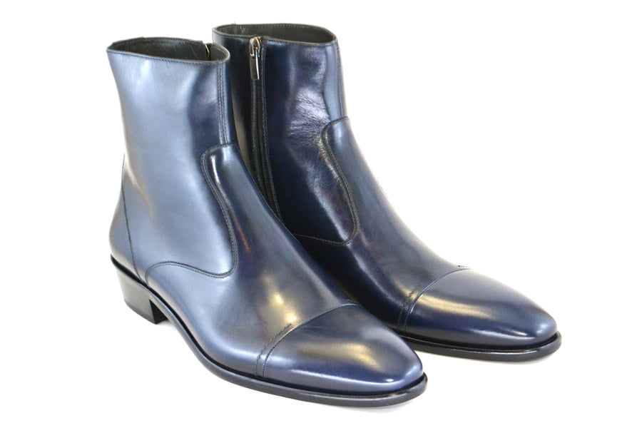 Corrente Burnished Calfskin Slip-On Boot Navy