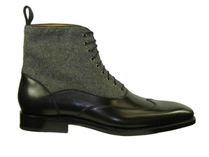 Burnished Calfskin Lace-Up Boot Black/Grey