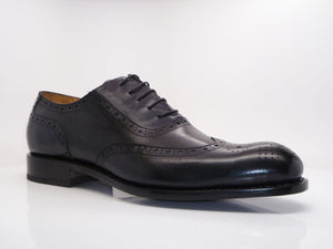 Burnished Calfskin Wingtip Oxford Black