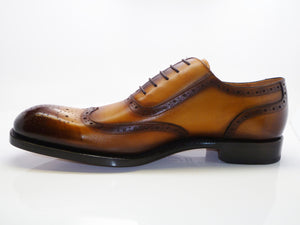 Burnished Calfskin Wingtip Oxford Honey