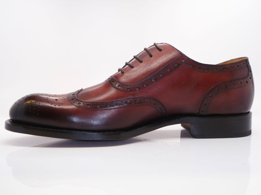 Burnished Calfskin Wingtip Oxford Mahogany
