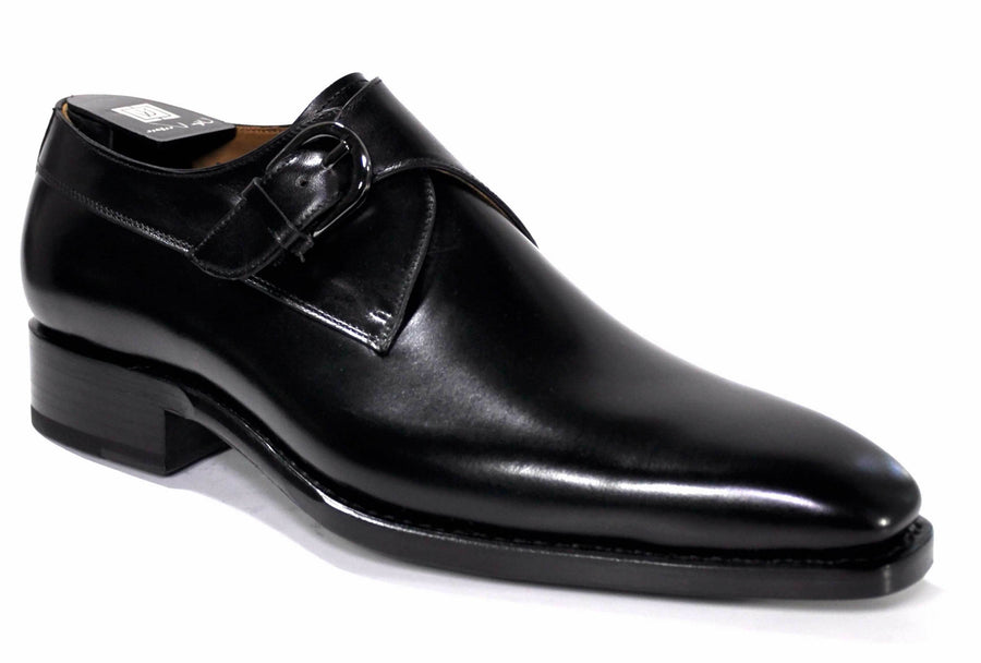 Burnished Calfskin Monkstrap Black