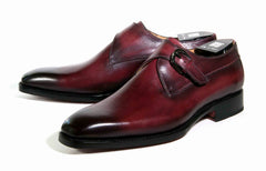 Burnished Calfskin Monkstrap Burgundy