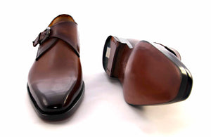 Burnished Calfskin Monkstrap Camel