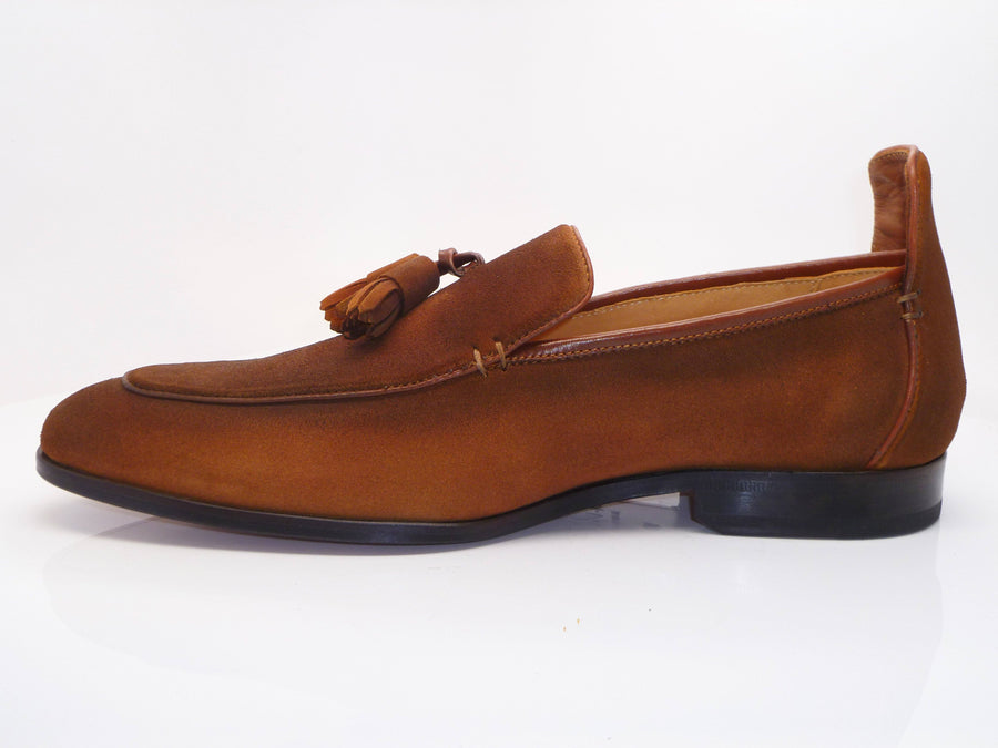 Suede Slip-On Tasseled Loafer Brown