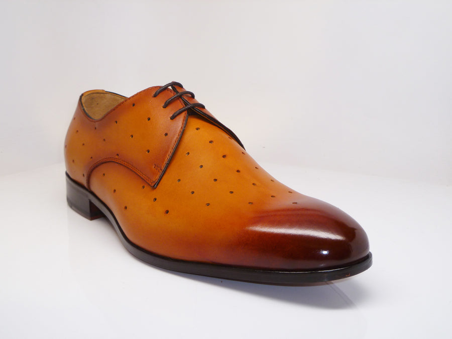 Perforated Calfskin Oxford Mustard