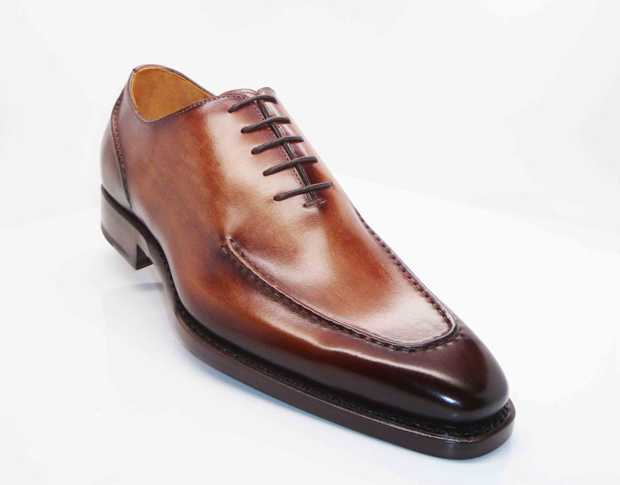 "Burnished Calfskin ""Arthur"" Lace-Up Oxford Walnut"