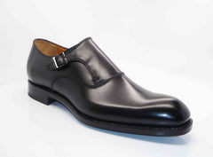 "Burnished Calfskin ""Fred"" Monkstrap Black"