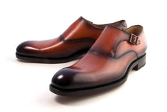 "Burnished Calfskin ""Fred"" Monkstrap Camel"