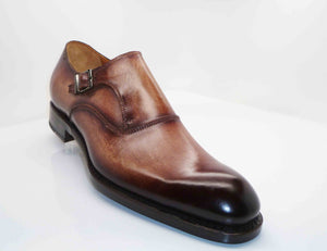 "Burnished Calfskin ""Fred"" Monkstrap Walnut"