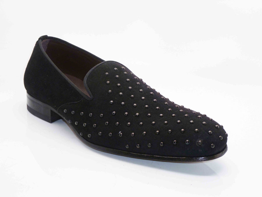 Mezlan Studded Suede Venetian Loafer Black