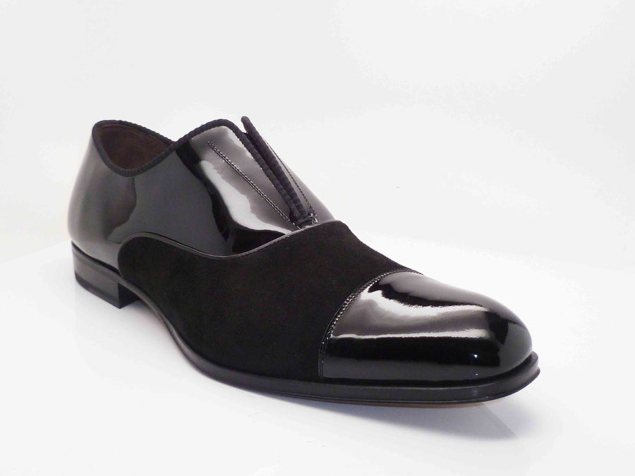 Mezlan Patent Leather & Suede Slip-On Shoe Black