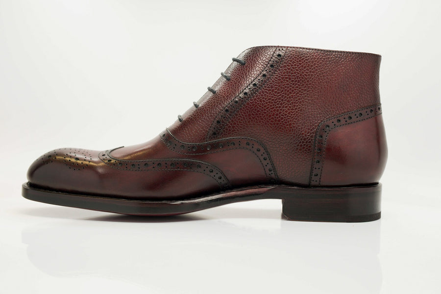 Burnished Calfskin Lace-Up Boot Burgundy