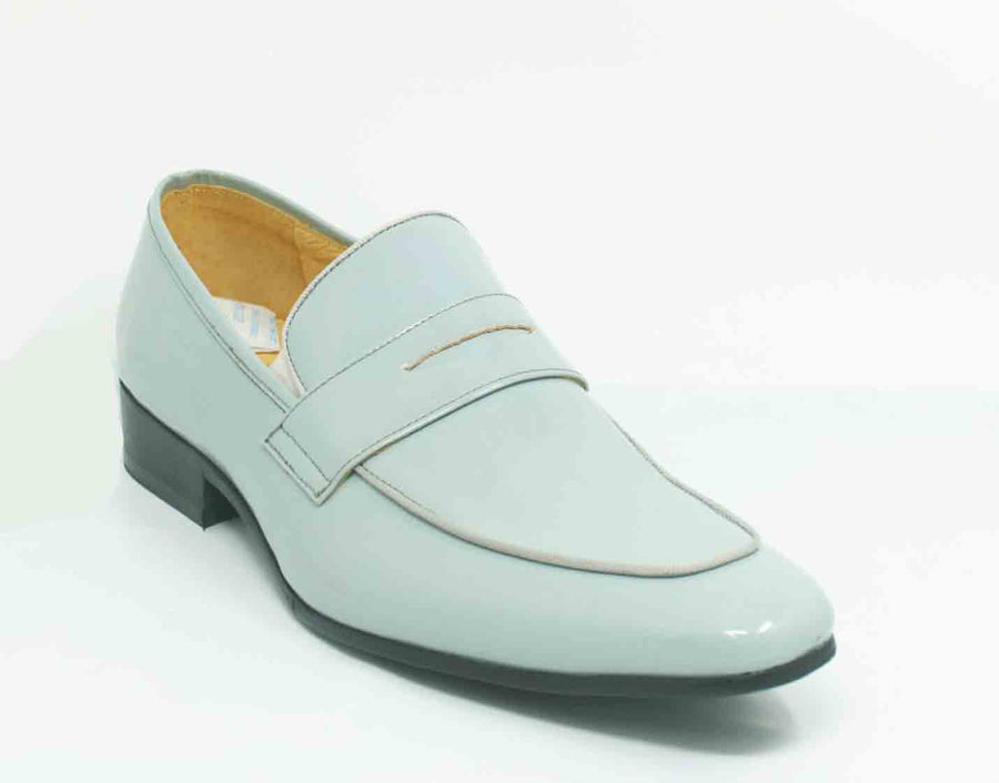 Shiny Calfskin Penny Loafer Grey