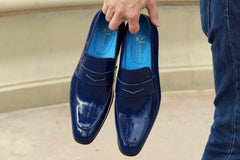 Shiny Calfskin Penny Loafer Navy