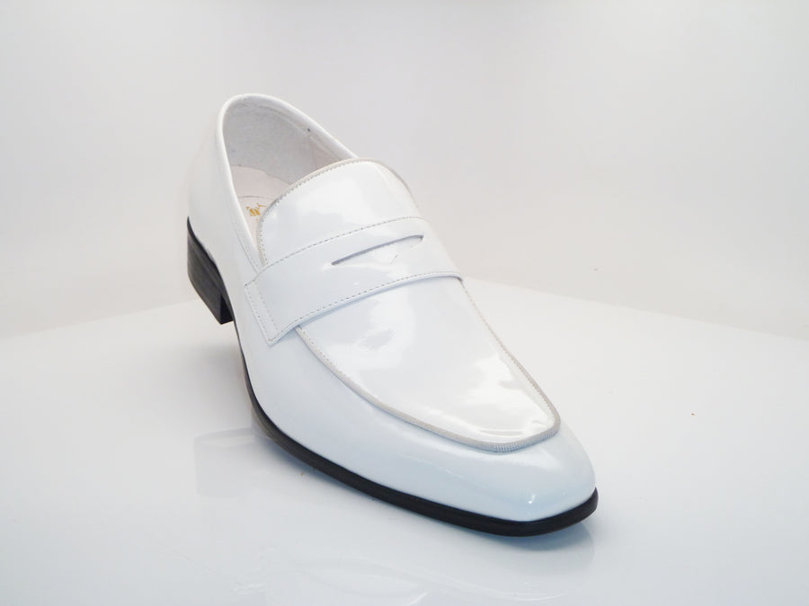 Shiny Calfskin Penny Loafer White