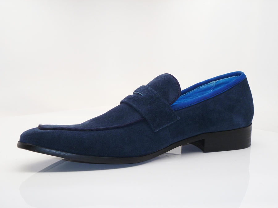 Suede Penny Loafer Navy/Blue