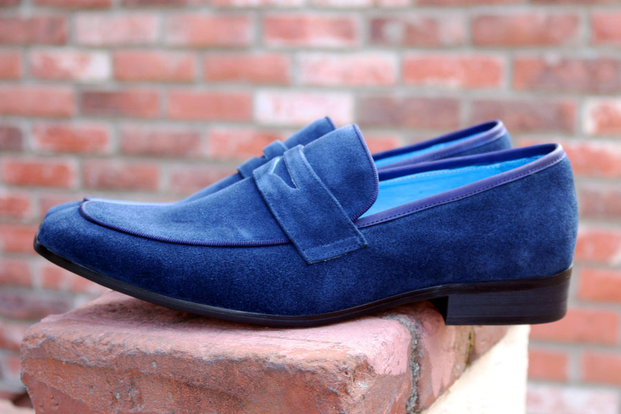 Suede Penny Loafer Navy/Blue – C\u0026E Fashions