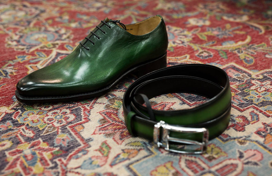 Burnished Calfskin Belt Green