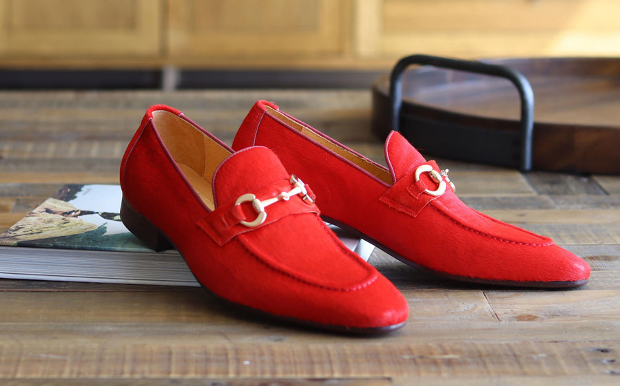 Carrucci by Maurice Pony Hair Loafer Red