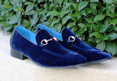 Velvet Slip-On Loafer Blue