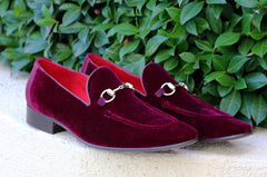 Velvet Slip-On Loafer Burgundy