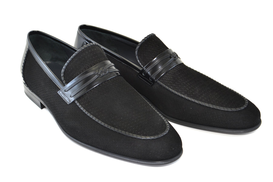Corrente Perforated Suede Slip-On Loafer Black