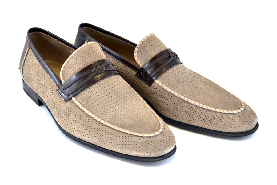 Corrente Perforated Suede Slip-On Loafer Taupe
