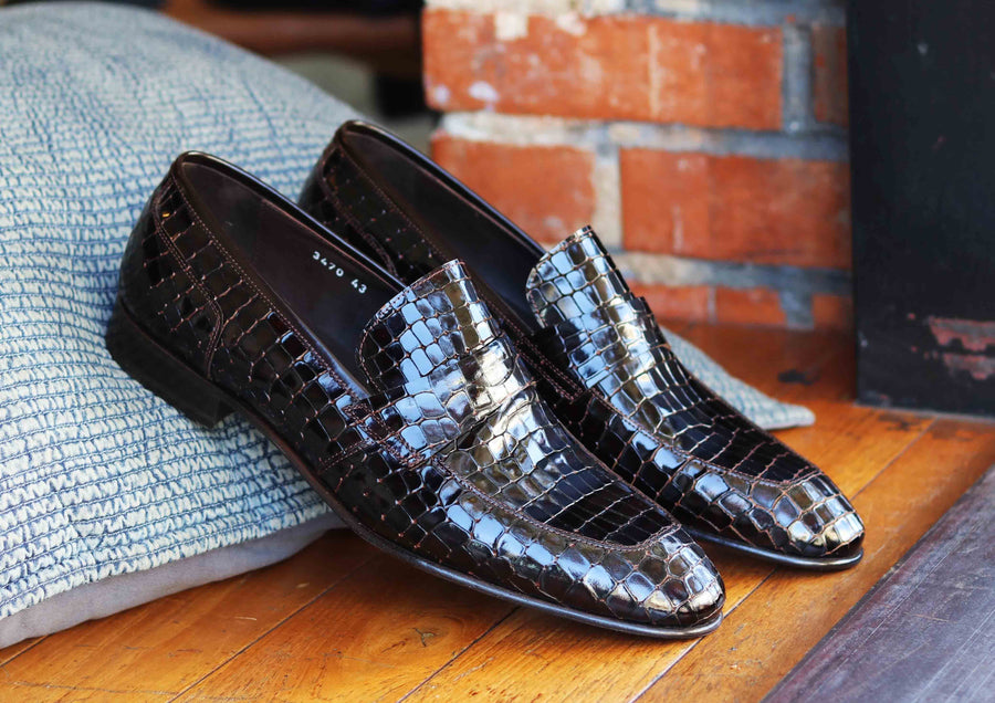 Corrente Crocodile Printed Calfskin Penny Loafer Brown