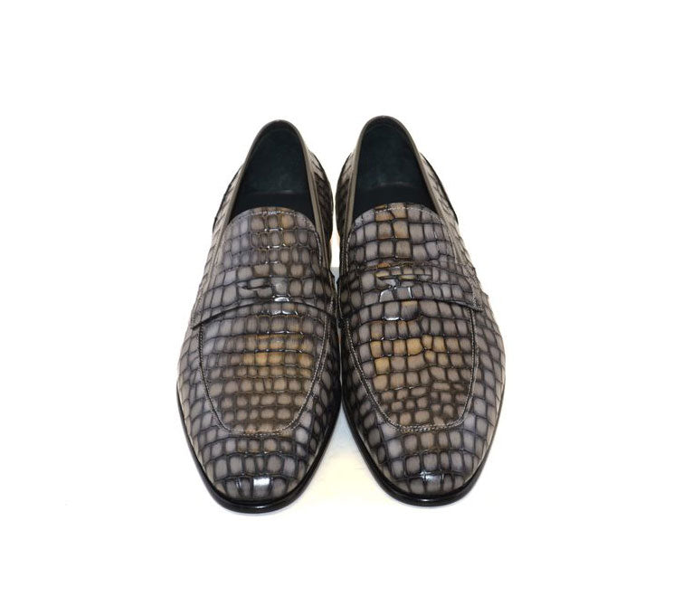 Corrente Crocodile Printed Calfskin Penny Loafer Grey