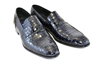 Corrente Crocodile Printed Calfskin Penny Loafer Navy