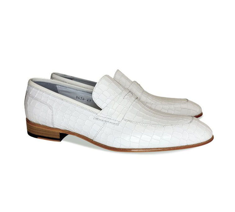 Corrente Crocodile Printed Calfskin Penny Loafer White