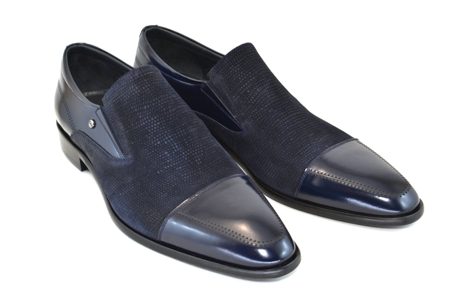 Corrente Calfskin & Suede Slip-On Shoe Navy