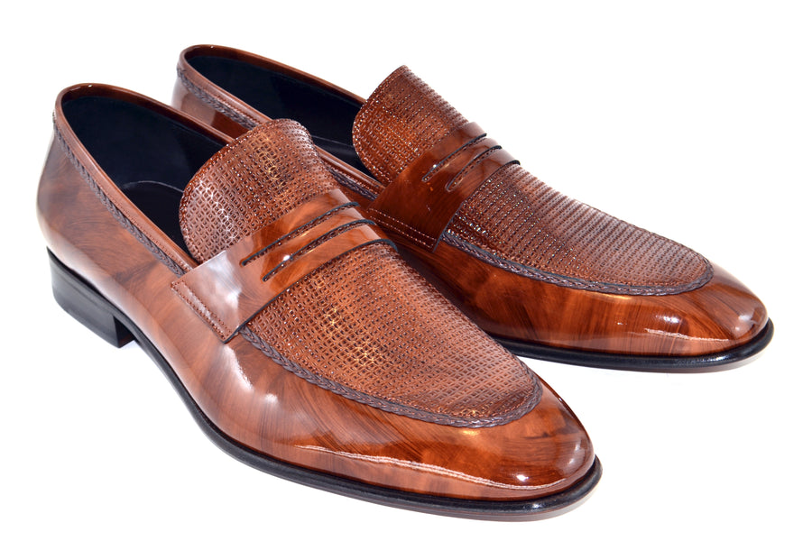 Corrente Patent Leather Penny Loafer Brown