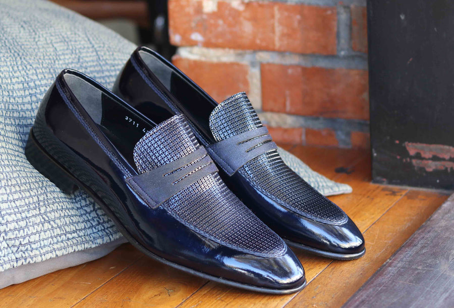 Corrente Patent Leather Penny Loafer Navy