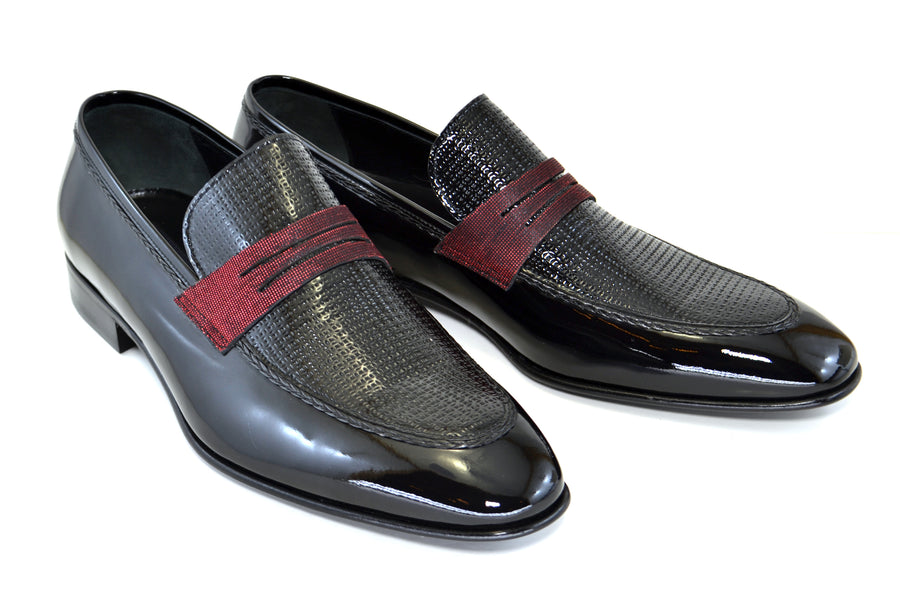 Corrente Patent Leather Penny Loafer Black