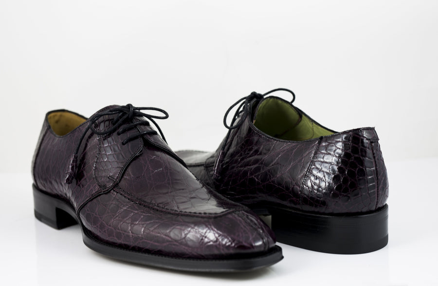 Crocodile Lace-Up Oxford Burgundy