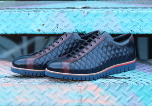 Corrente Quilted Calfskin Lace-Up Oxford Navy