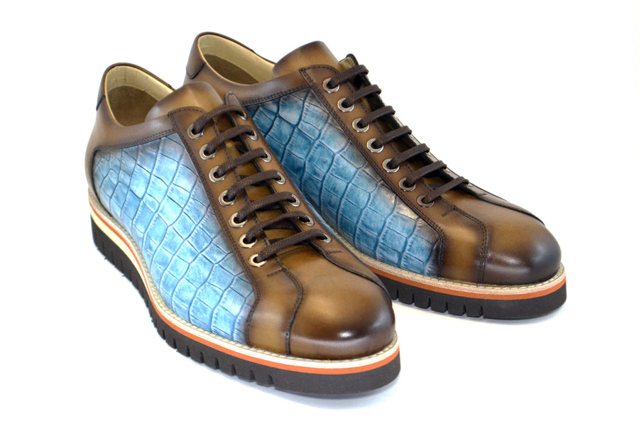 Corrente Printed Calfskin Lace-Up Oxford Taupe
